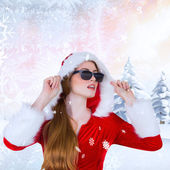 Cool santa girl wearing sunglasses — Foto de Stock