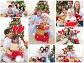 Families celebrating christmas — Foto Stock