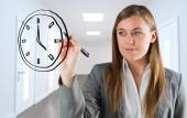 Business person drawing black clock — Stockfoto