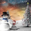 Composite image of christmas tree and snowman — Stock Photo #53900259