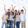 Composite image of cheering group of people — Stock Photo #53900443