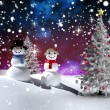 Composite image of christmas tree and snowmen — Stock Photo #53901559