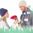 Man offering roses to girlfriend — Stock Photo #53903241