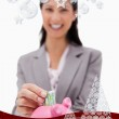 Money being put into piggy bank by businesswoman — Stock Photo #53903247