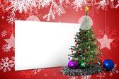 Sammansatt bild av affisch med julgran — Stockfoto