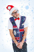 Geeky hipster in santa hat — Stock Photo