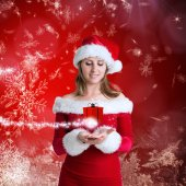 Pretty girl in santa outfit — Stock Photo