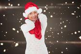 Composite image of festive woman — Stock Photo