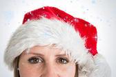 Hezká žena v santa hat — Stock fotografie