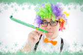 Geeky hipster wearing a rainbow wig — Stockfoto