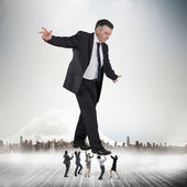 Business team supporting boss — Stock Photo