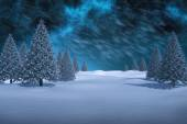 Composite image of white snowy landscape with fir trees — Stock Photo