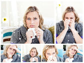 Composite image of collage of a woman having a cold — ストック写真