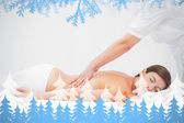 Woman receiving back massage at spa  center — ストック写真