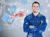 Young mechanic next to futurist — Stock Photo
