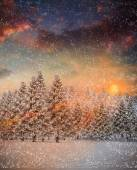 Composite image of snow falling — Stock Photo