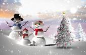 Composite image of christmas tree and snowmen — Stockfoto