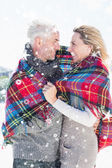 Happy couple wrapped up in blanket — Stockfoto