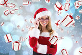 Sexy santa girl wearing spectacles — Stock Photo