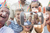 Happy extended family celebrating birthday — Foto Stock