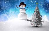 Composite image of christmas tree and snowman — Foto Stock