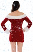 Santa girl standing with hands on hips — Stock Photo