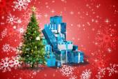 Composite image of christmas tree and presents — Стоковое фото
