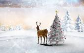 Composite image of christmas tree and reindeer — Foto Stock