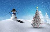 Composite image of christmas tree and snowman — Stock Photo