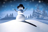 Composite image of digitally generated white snow man — Stock Photo