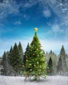 Composite image of christmas tree — Foto Stock