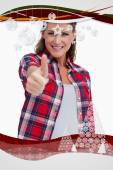 Portrait of a blissful woman with the thumb up — Stock Photo
