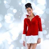 Santa girl smiling at camera — Stock Photo