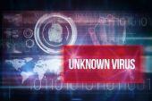 Unknown virus against blue technology design — Stock Photo