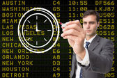 Business person drawing white clock — Stock Photo