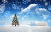 Composite image of fir trees in snowy landscape — Foto de Stock