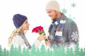 Man offering roses to girlfriend — Foto Stock