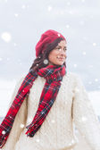 Pretty woman in stylish warm clothing — Stockfoto