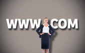 Businesswoman with hands on hips with vignette — Stock Photo