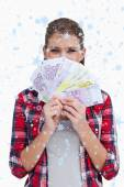 Rich woman holding bank notes — Stock Photo