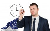 Business person drawing black clock — Стоковое фото