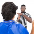 Serious referee showing time out sign to player — Stock Photo #53914035