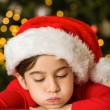 Little girl writing letter to santa at christmas — Stock Photo #53915869
