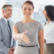 Business people welcoming new staff — Stock Photo #53915875