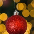 Red christmas ball decoration hanging — Stock Photo #53917053