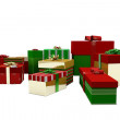 Green red and gold christmas gifts — Stock Photo #53918485