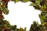 Holly and christmas branches forming frame — Stock Photo