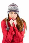 Cold redhead wearing coat and hat — Foto Stock