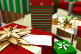 Colourful wrapped up christmas gifts — Stok fotoğraf
