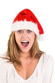 Festive blonde shouting at camera — Foto Stock
